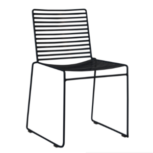 Black powder coated metal wire chair