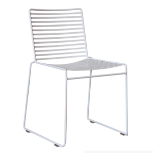 White powder coated metal wire chair