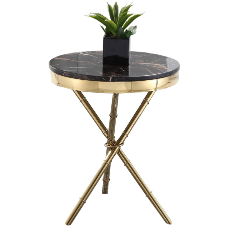 Gold plated marble top side table for hotel
