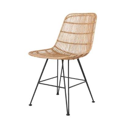 String design steel legs PE rattan dining chair