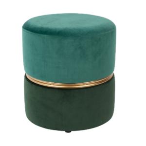 Modern green Velvet Round Ottoman