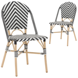 French bistro black and white V shape rattan chair