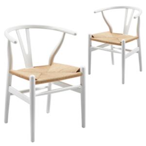 Hans Wegner style wishbone chair in white