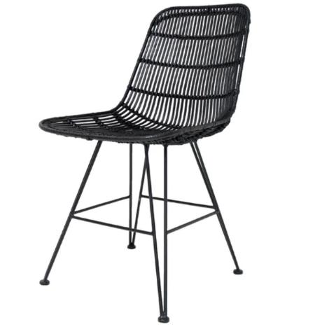 Modern string design steel legs PE rattan cafe chair