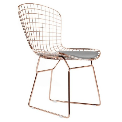 Harry Bertoia Wire Chair in copper with seat pad