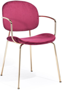 Gold plated metal frame velvet armchair for wholesale