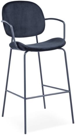 Black metal frame velvet bar chair for wholesale