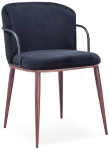 Wood grain metal frame velvet armchair for wholesale