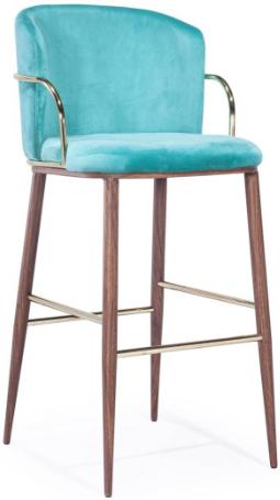 Wood grain metal frame velvet Bar stool for wholesale