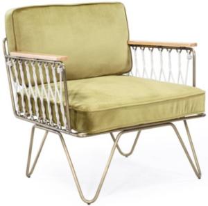 Metal frame velvet cushion sofa chair with wood armrest
