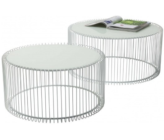 White powder coated metal wire coffee table set