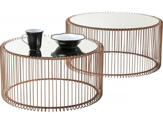 Copper electroplated metal wire coffee table set