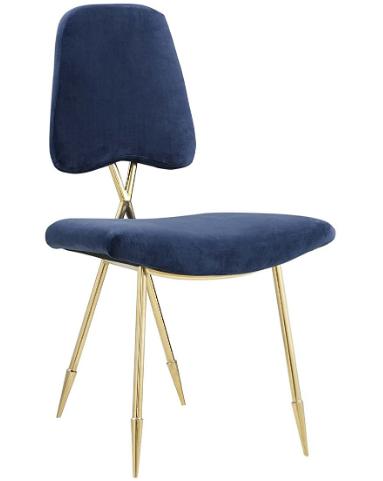 Navy blue velvet Upholstered gold stainless steel legs dining chair
