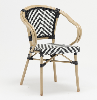 Aluminum frame rattan restaurant seating chair