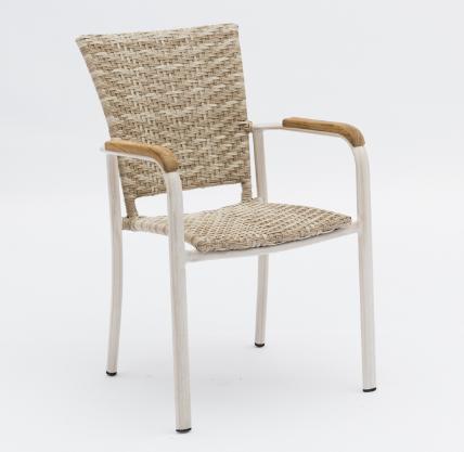 Wooden Armrest Rattan Stackable Garden Dining Chairs