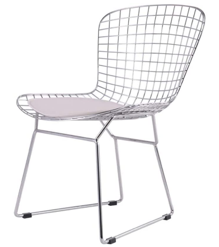 Classic design silver electroplated wire chair with seat pad