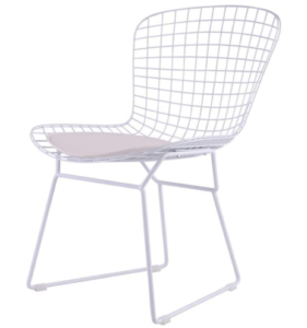 White powder coated classical replica bertoia wire chair
