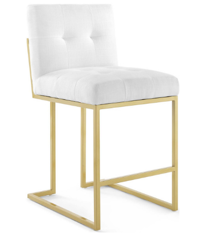 Polished gold stainless steel frame fabric tufted counter stool