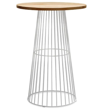 Wooden top white powder coated metal wire base Cocktail bar table