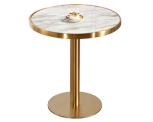 Brass gold stainless steel base marble top cafe table