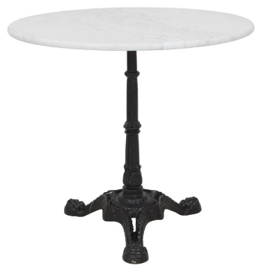 Marble top cast iron table base round cafe table