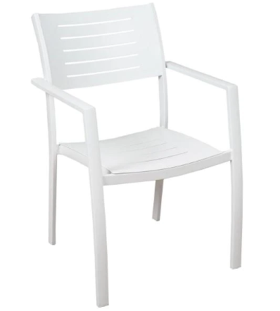 White powder coated stackable aluminum outdoor dining chair