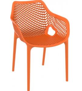 Stackable plastic outdoor cafe restaurant chair in orange