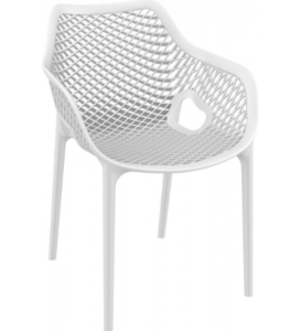 Commercial grade stackable plastic cafe chair in white