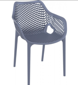Stackable plastic outdoor cafe chair in gray
