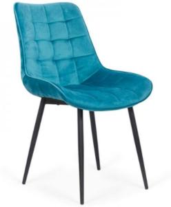 Black metal legs tufted blue velvet dining chair for wholesale