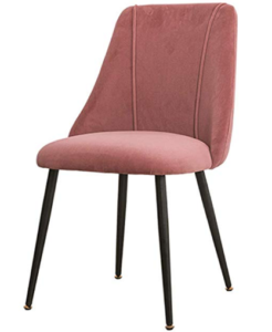 Black powder coated metal legs blush pink velvet dining chair