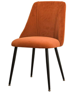 Black powder coated metal legs orange velvet dining chair