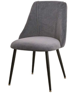 Black powder coated metal legs gray velvet dining chair