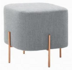 Gold plated metal frame gray linen square ottoman/stool