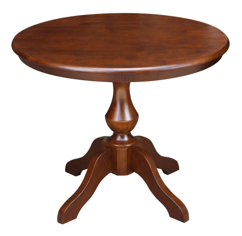 Walnut Finish Solid wood Pedestal Round Dining Table