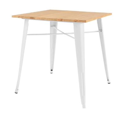 White Metal Square Dining Table for 4