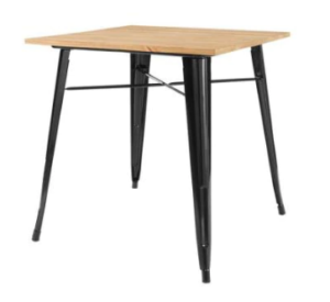 Industrial style Black Metal Square Dining Table for 4