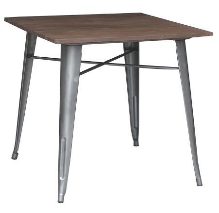 Gray Finish Metal Square Dining Table for 4