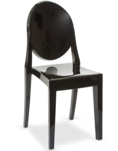 Matte Glossy Black Stackable Victoria Ghost Chair