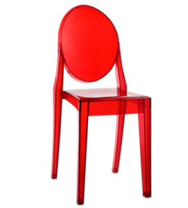 Transparent red Acrylic Stackable Ghost Chair