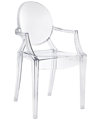 Clear Acrylic Ghost chair with Arms - Stackable