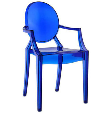 Transparent Blue Acrylic Ghost chair with Arms - Stackable