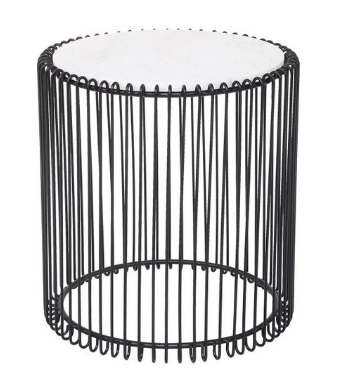 Marble top black wire side table