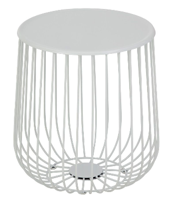 White powder coated wire side table