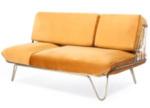 Metal frame velvet cushion 2 Seater sofa