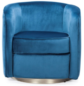 Blue elvet with silver base round sofa chair