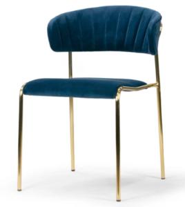 Golden metal legs blue velvet dining chair