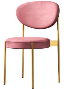 Golden metal legs velvet dining chair for wholesale
