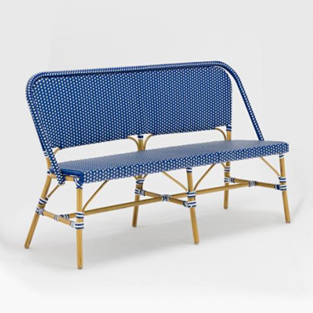Outdoor french bistro rattan bench chair for cafe shop
