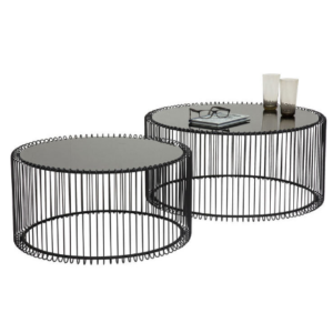 Black powder coated metal wire coffee table set
